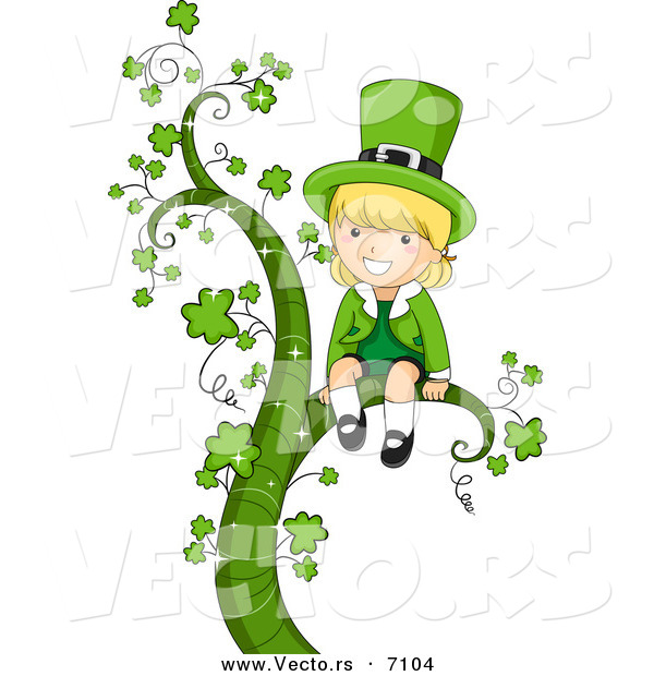 Cartoon Vector of a Happy St. Patrick's Day Leprechaun Girl Sitting on a Large Vine with Clovers