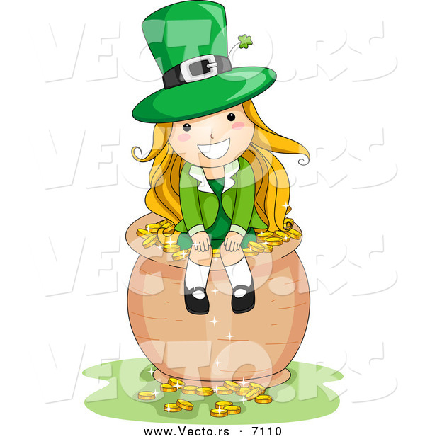 Cartoon Vector of a Happy St. Patrick's Day Leprechaun Girl Sitting on a Pot Full of Gold Coins