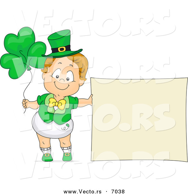 Cartoon Vector of a Happy Toddler Boy Standing Beside a Blank Sign and Clover Balloons