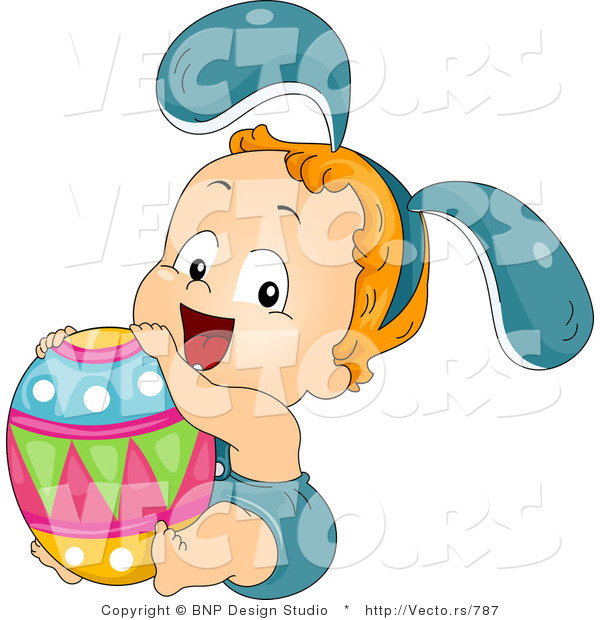 Cartoon Vector of a Happy Toddler with Big Easter Egg
