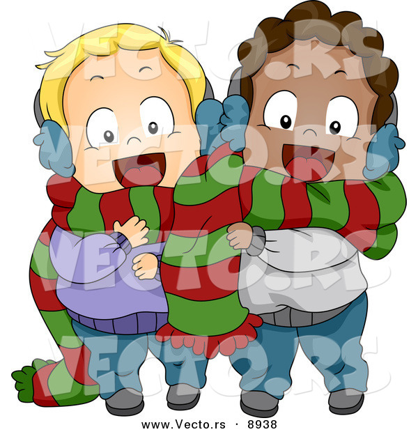 Cartoon Vector of a Happy Toddlers Sharing a Scarf for Christmas