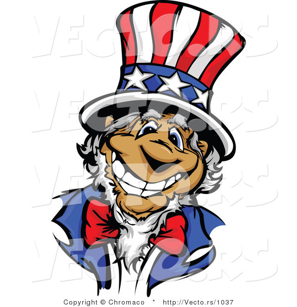 Cartoon Vector of a Happy Uncle Sam Wearing an American Top Hat with a Big Grin