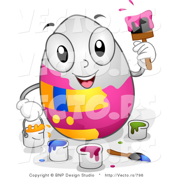 Cartoon Vector of a Happy White Easter Egg Painting Itself