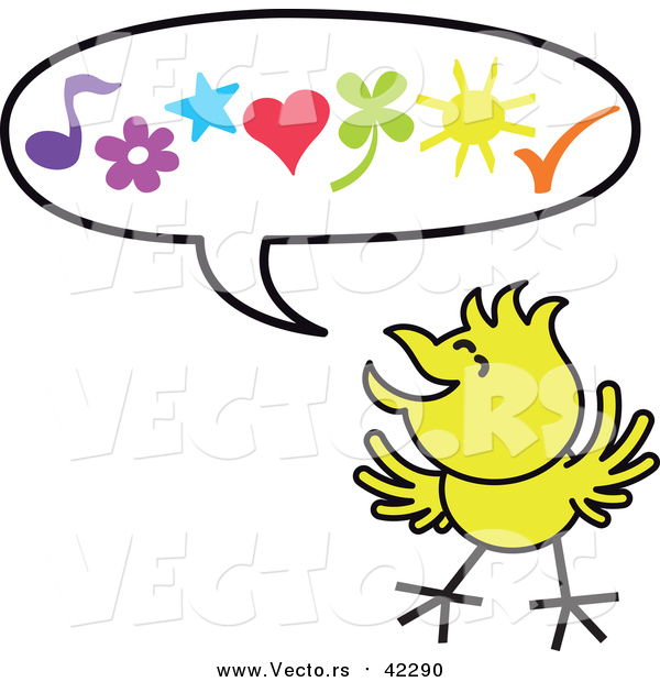 Cartoon Vector of a Happy Yellow Chicken a Word Balloon