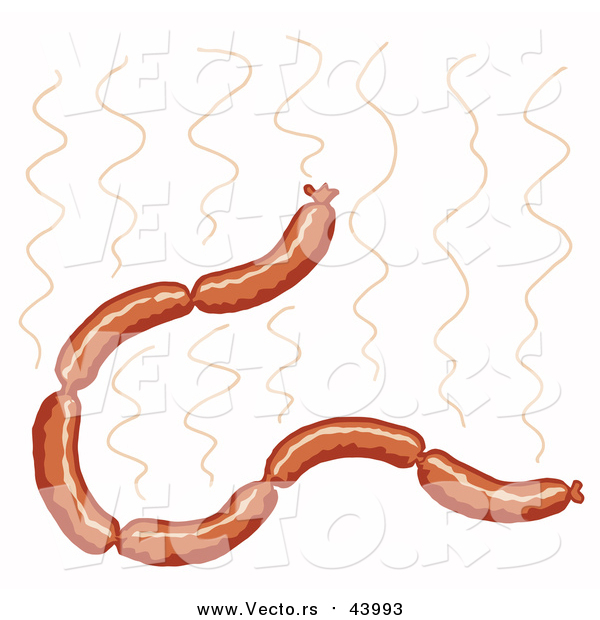 Cartoon Vector of a Hot Sausage Links Strand