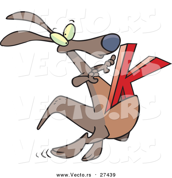 Cartoon Vector of a Kangaroo Jumping with Alphabet Letter 'K'