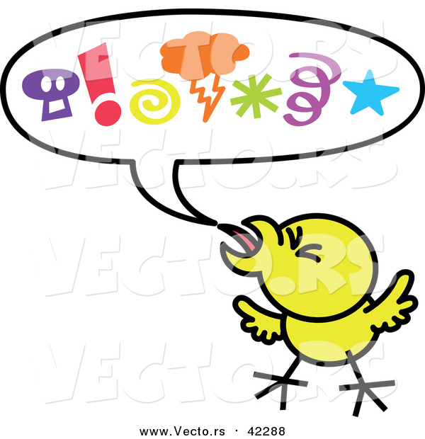 Cartoon Vector of a Mad Yellow Chicken Displaying Aggressive Behavior with a Word Balloon