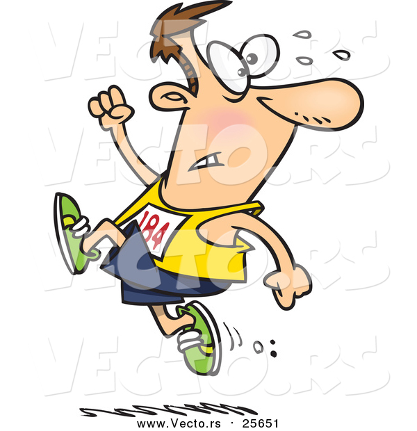 Cartoon Vector of a Male Runner Ahead of the Crowd