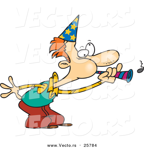 Cartoon Vector of a Man Blowing a Party Horn