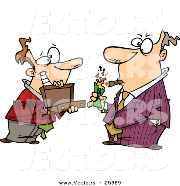 Cartoon Vector of a Man Holding a Briefcase Open for His Boss As He Lights a Cigar with Cash