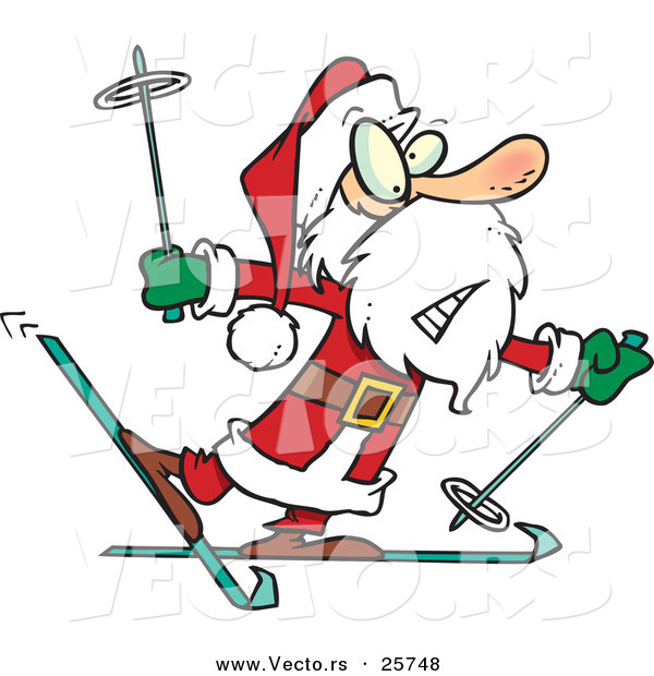 Cartoon Vector of a Nervous Santa Trying to Snow Ski