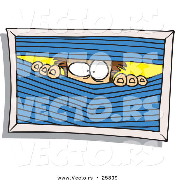 Cartoon Vector of a Paranoid Man Peeking Through Blinds