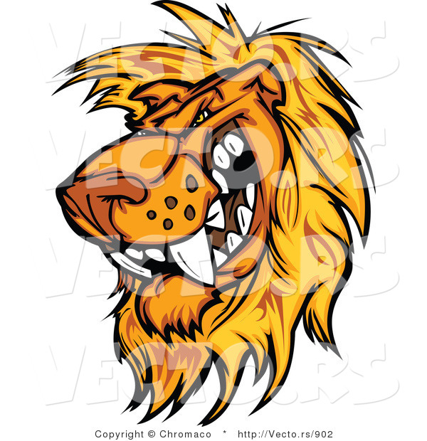 Cartoon Vector of a Rival Male Lion Mascot Preparing to Attack
