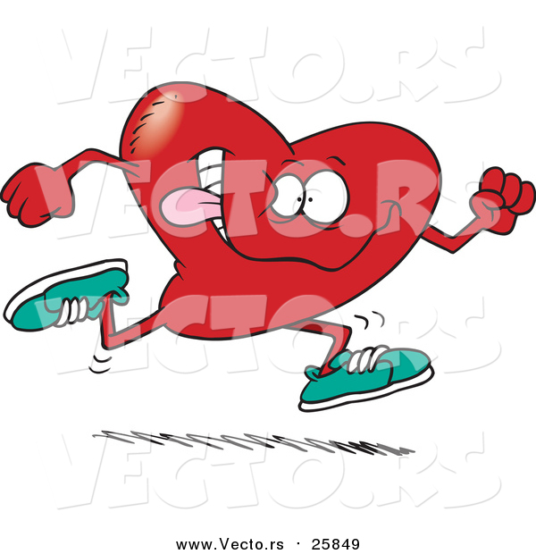 Cartoon Vector of a Running Heart