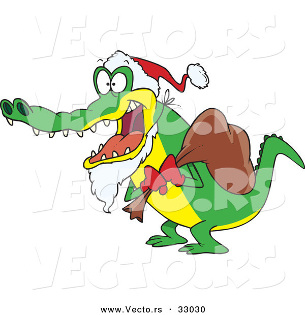 Cartoon Vector of a Santa Alligator Delivering Christmas Presents