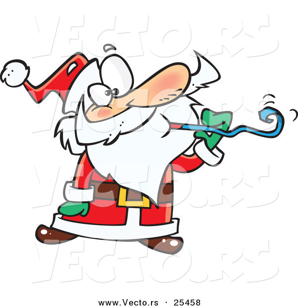 Cartoon Vector of a Santa at a Party, Blowing a Noise Maker Blower