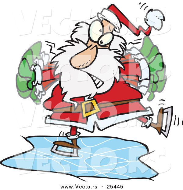 Cartoon Vector of a Santa Claus Flapping His Arms to Try to Maintain His Balance so He Doesn't Fall While Ice Skating