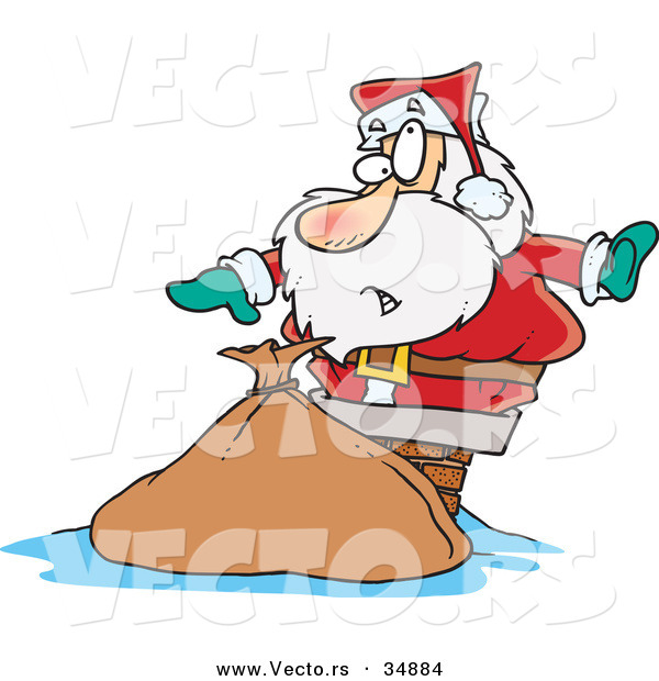 Cartoon Vector of a Santa Getting Stuck in a Chimney