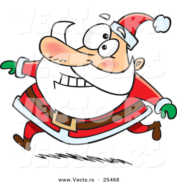 Cartoon Vector of a Santa Grinning While Running in His Red Suit