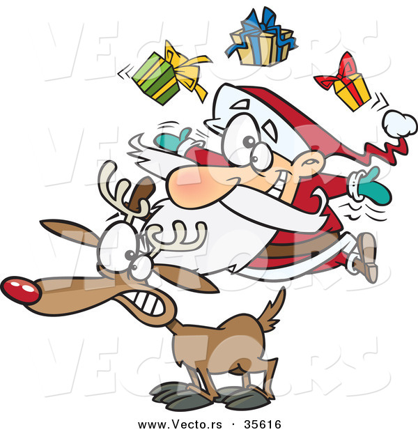 Cartoon Vector of a Santa Juggling Christmas Presents on a Reindeer