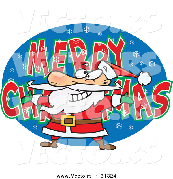 Cartoon Vector of a Santa over MERRY CHRISTMAS Background Sign