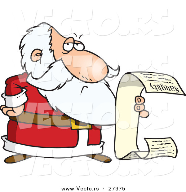 Cartoon Vector of a Santa Reading Long Naughty List
