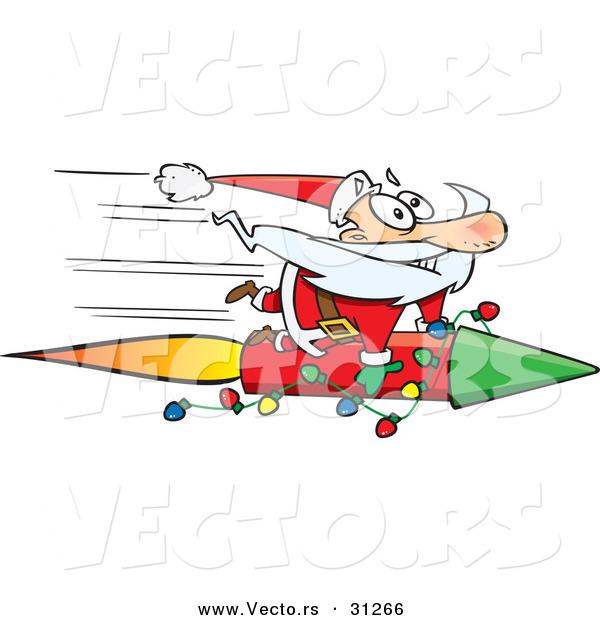 Cartoon Vector of a Santa Riding Super Fast Rocket by Ron Leishman ...