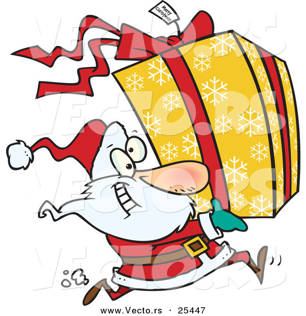 Cartoon Vector of a Santa Running to Deliver a Large Christmas Present Gift Wrapped in a Red Bow, Ribbon and Yellow Paper with a White Snowflake Pattern