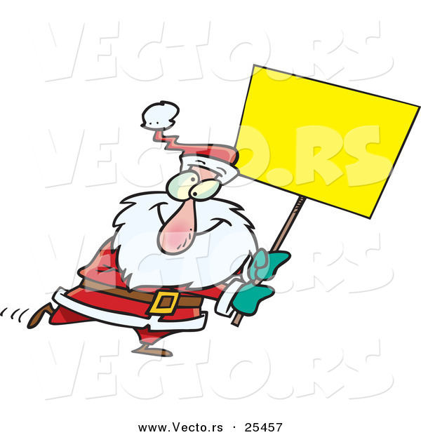 Cartoon Vector of a Santa Walking with a Blank Sign