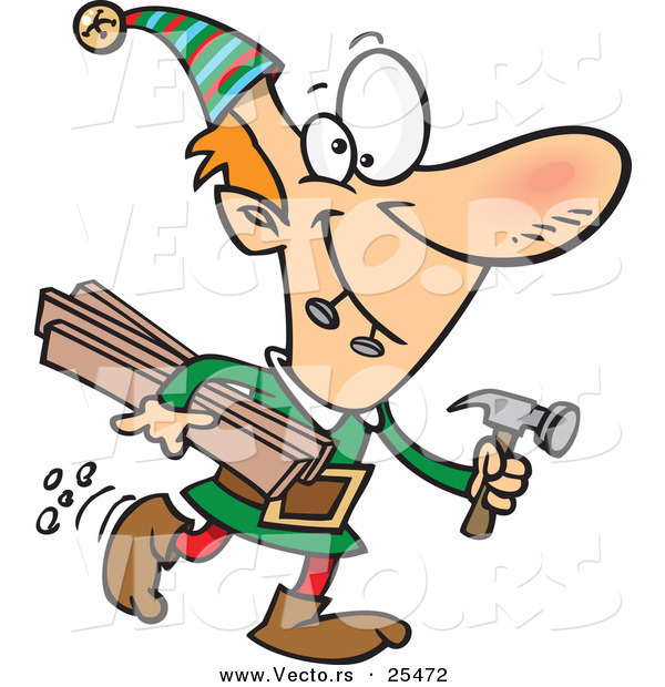 Cartoon Vector of a Santa's Elf Biting 2 Nails and Carrying Plywood and a Hammer to the Toy Shop