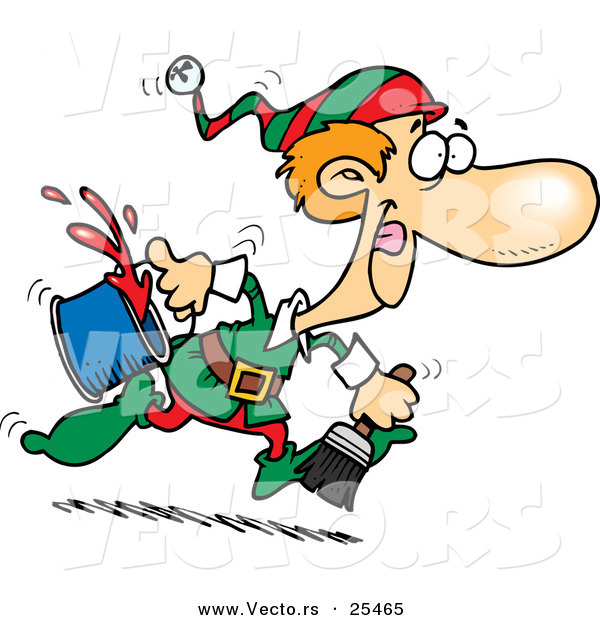 Cartoon Vector of a Santa's Elf Running to Paint a Wall Red for Christmas Time