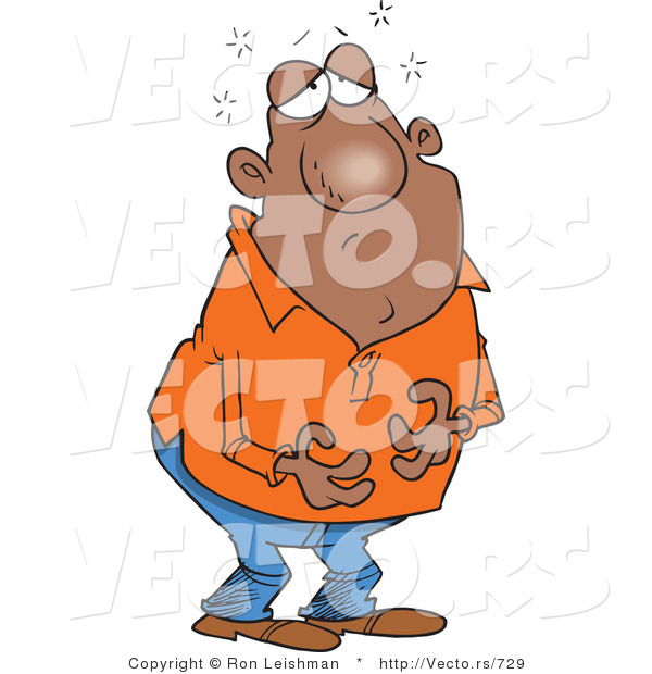 Cartoon Vector of a Sick Bald Mexican Man with Upset Tummy