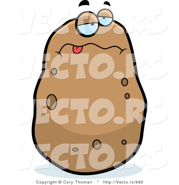 Cartoon Vector of a Sick Potato