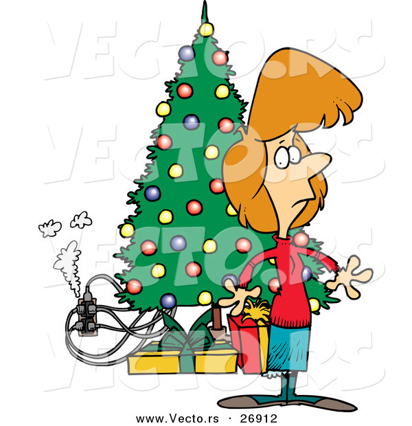 Cartoon Vector of a Smoking Electric Hazard Beside a Christmas Tree and Woman Just Noticing It