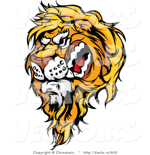 Cartoon Vector of a Snarling Male Lion Mascot