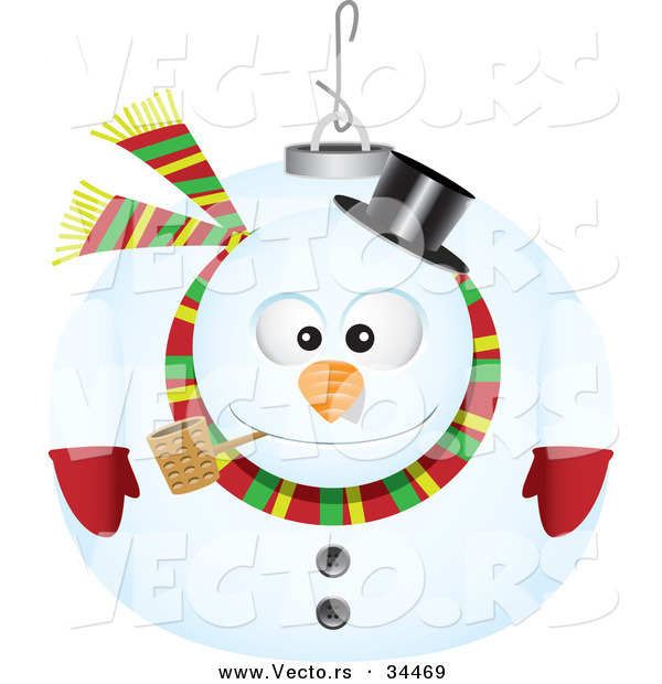 Cartoon Vector of a Snowman Ornament