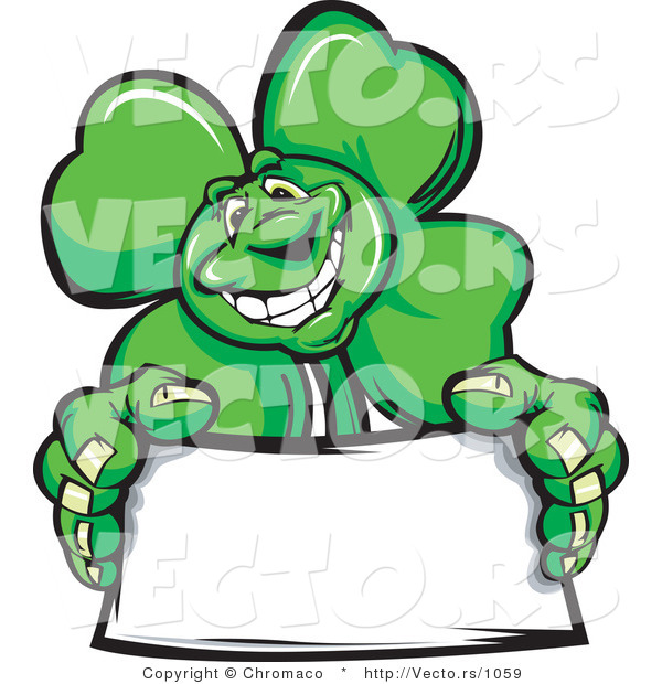 Cartoon Vector of a St. Patrick's Day Shamrock Clover Mascot Holding a Blank Sign