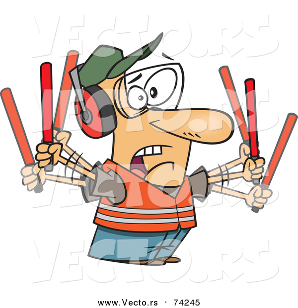 Cartoon Vector of a Stressed Male Traffic Controller Waving Wands