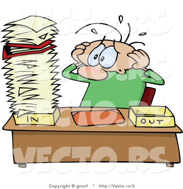 Cartoon Vector of a Stressed out Office Worker Looking at an Overwhelming Stack of Unprocessed Paperwork