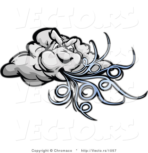 Cartoon Vector of a Strong Cartoon Storm Cloud Mascot Blowing Powerful Wind Gusts