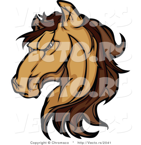 Cartoon Vector of a Strong Grinning Brown Horse Staring with Intimidating Eyes