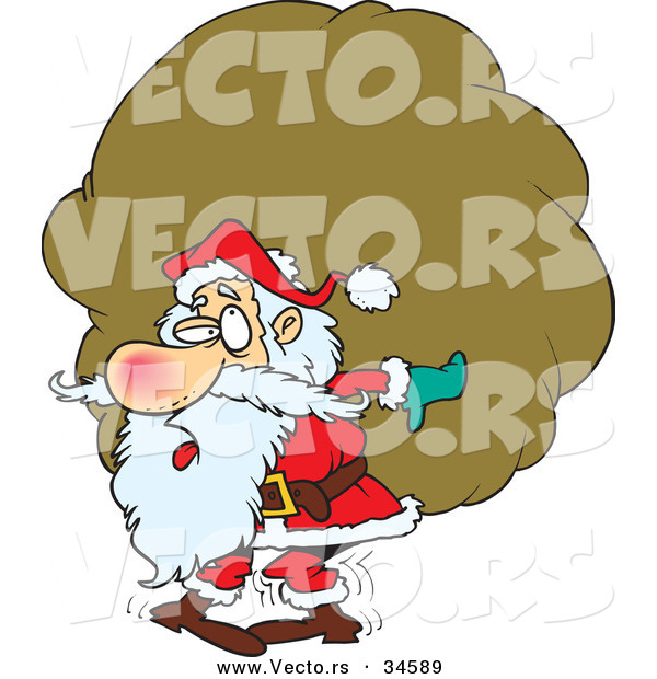 Cartoon Vector of a Tired Santa Carrying a Big, Heavy Sack of Presents