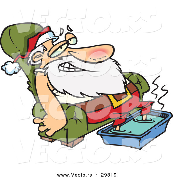 Cartoon Vector of a Tired Santa Relaxing on a Couch with a Hot Steamy Foot Bath