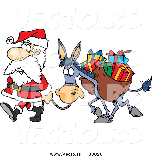 Cartoon Vector of a Tired Santa Walking with Bag of Presents on His Donkey