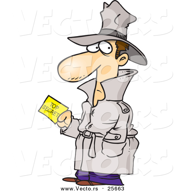 Cartoon Vector of a Undercover Agent with Top Secret Information