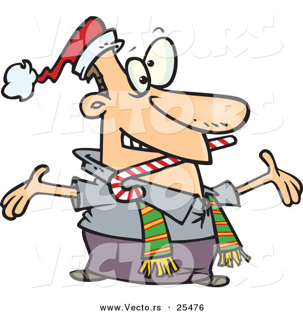 Cartoon Vector of a Welcoming Man Wearing a Santa Hat and Scarf, Biting a Candy Cane and Holding His Arms Wide Open While Greeting Friends or Family