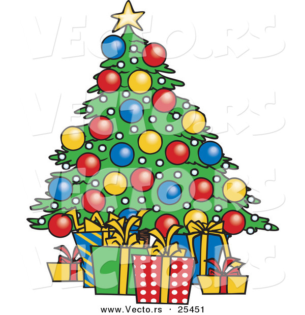 Cartoon Vector of a Wrapped Presents Under a Decorated Christmas Tree