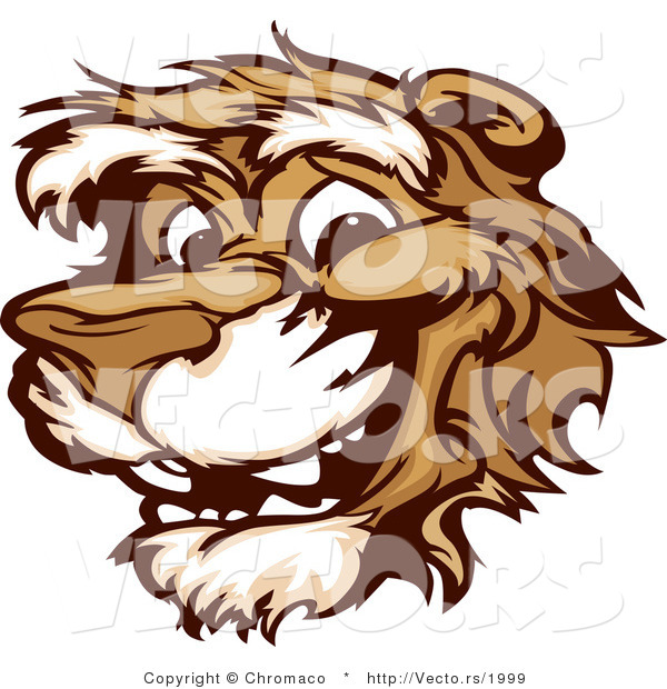 Cartoon Vector of a Young Happy Cartoon Cougar Mascot Smiling
