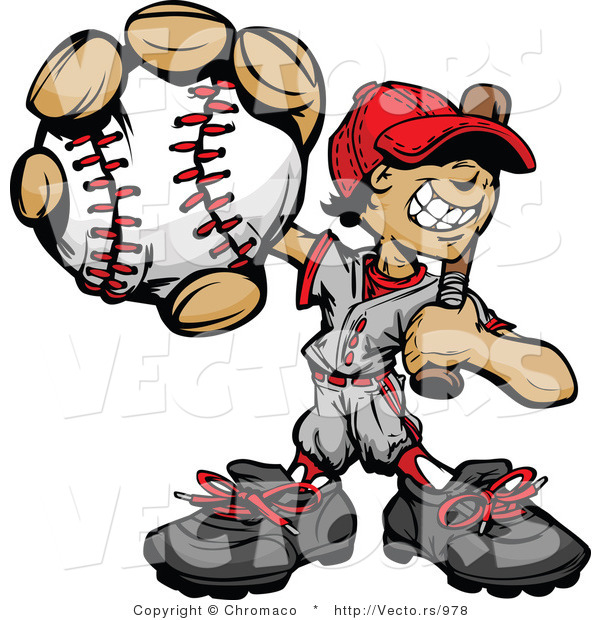Cartoon Vector of a Young Male Baseball Playing Holding Ball and Bat