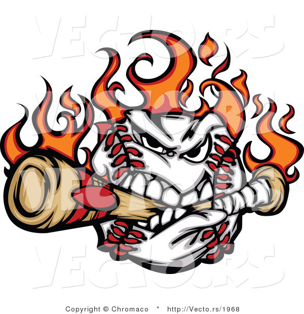 Cartoon Vector of an Aggressive Flaming Cartoon Baseball Mascot Destroying a BatAggressive Flaming Cartoon Baseball Mascot Destroying a Bat - Coloring Page Outline